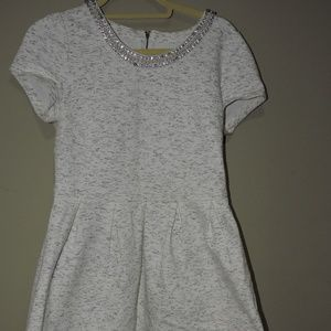 Jeweled Collar Grey Dress